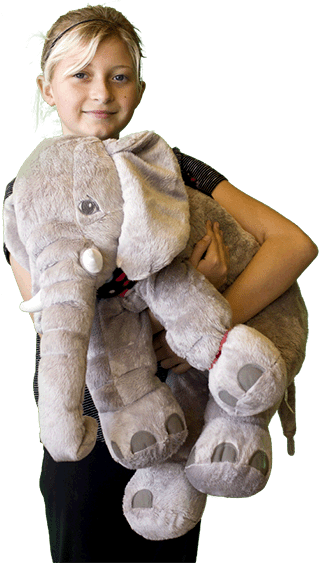 girl carrying favorite stuffed animal