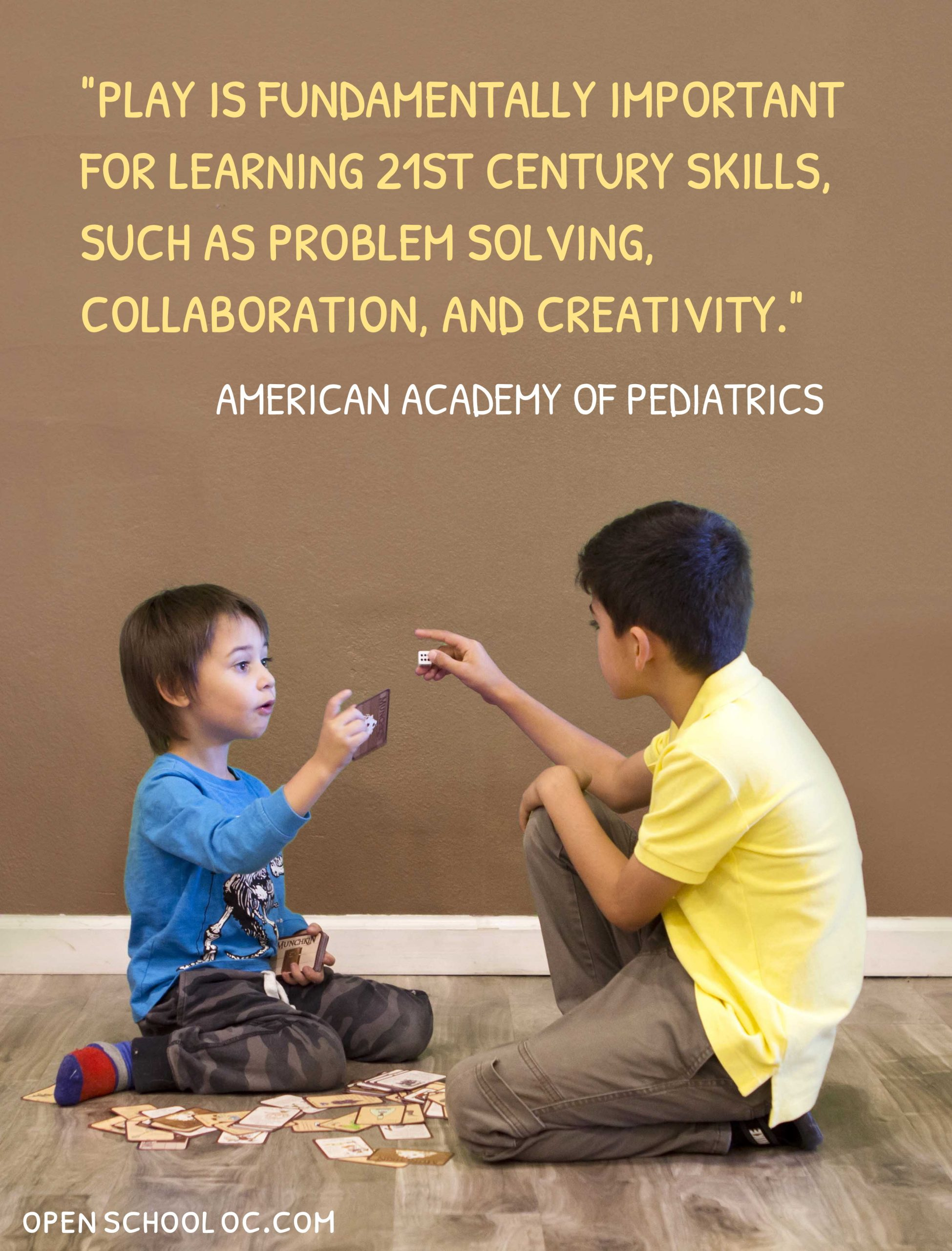 Play is fundamentally important for learning 21st century skills, such as problem solving, collaboration, and creativity.